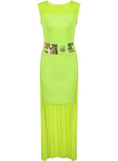 Neon Green Sleeveless Bead High Low Dress