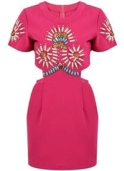 Rose Red Short Sleeve Bead Midriff Dress