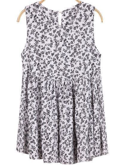 White Sleeveless Floral Pleated Loose Dress
