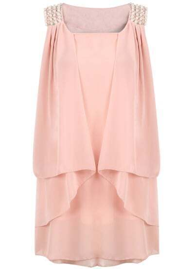 Pink Sleeveless Bead Loose Chiffon Dress