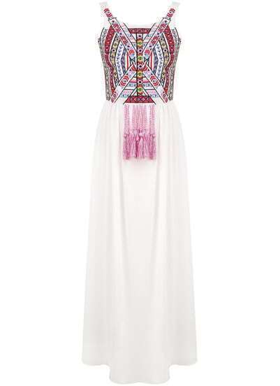 White Spaghetti Strap Floral Tassel Pleated Dress