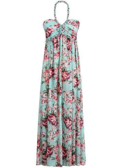 Green Halter Floral Pleated Chiffon Maxi Dress