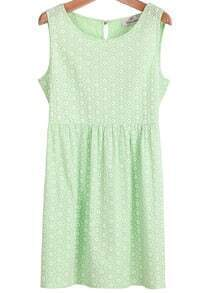 Green Sleeveless Daisy Print Hollow Dress