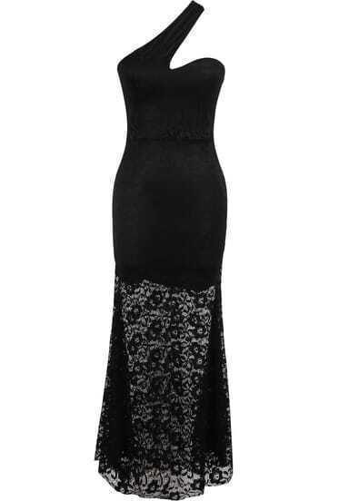 Black One Shoulder Lace Skinny Maxi Dress