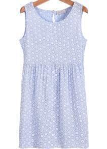Blue Sleeveless Daisy Print Hollow Dress