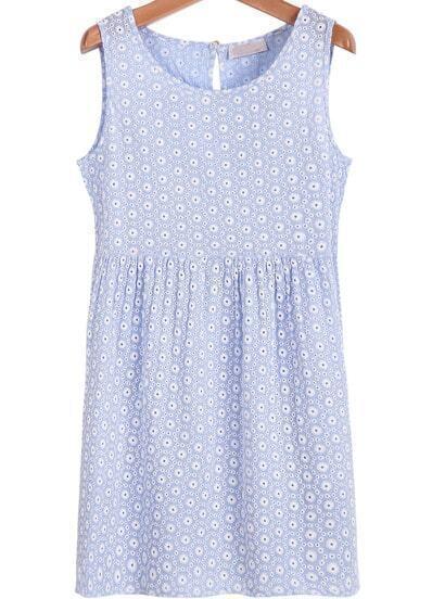 Blue Sleeveless Daisy Print Hollow Dress