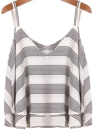 Grey White Striped Spaghetti Strap Chiffon Vest
