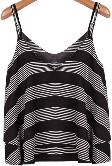Grey Black Striped Spaghetti Strap Chiffon Vest