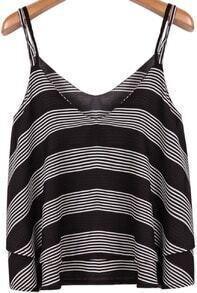 Grey Black Striped Spaghetti Strap Chiffon Vest