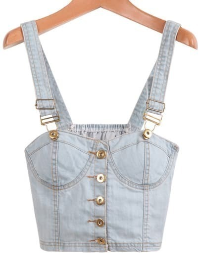 Blue Spaghetti Strap Buttons Denim Vest