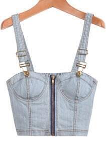 Blue Spaghetti Strap Zipper Denim Vest