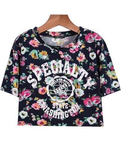 Blue Short Sleeve Floral SPECIALT Print T-Shirt