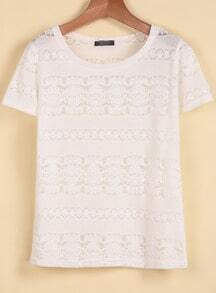 White Short Sleeve Embroidered Lace T-Shirt