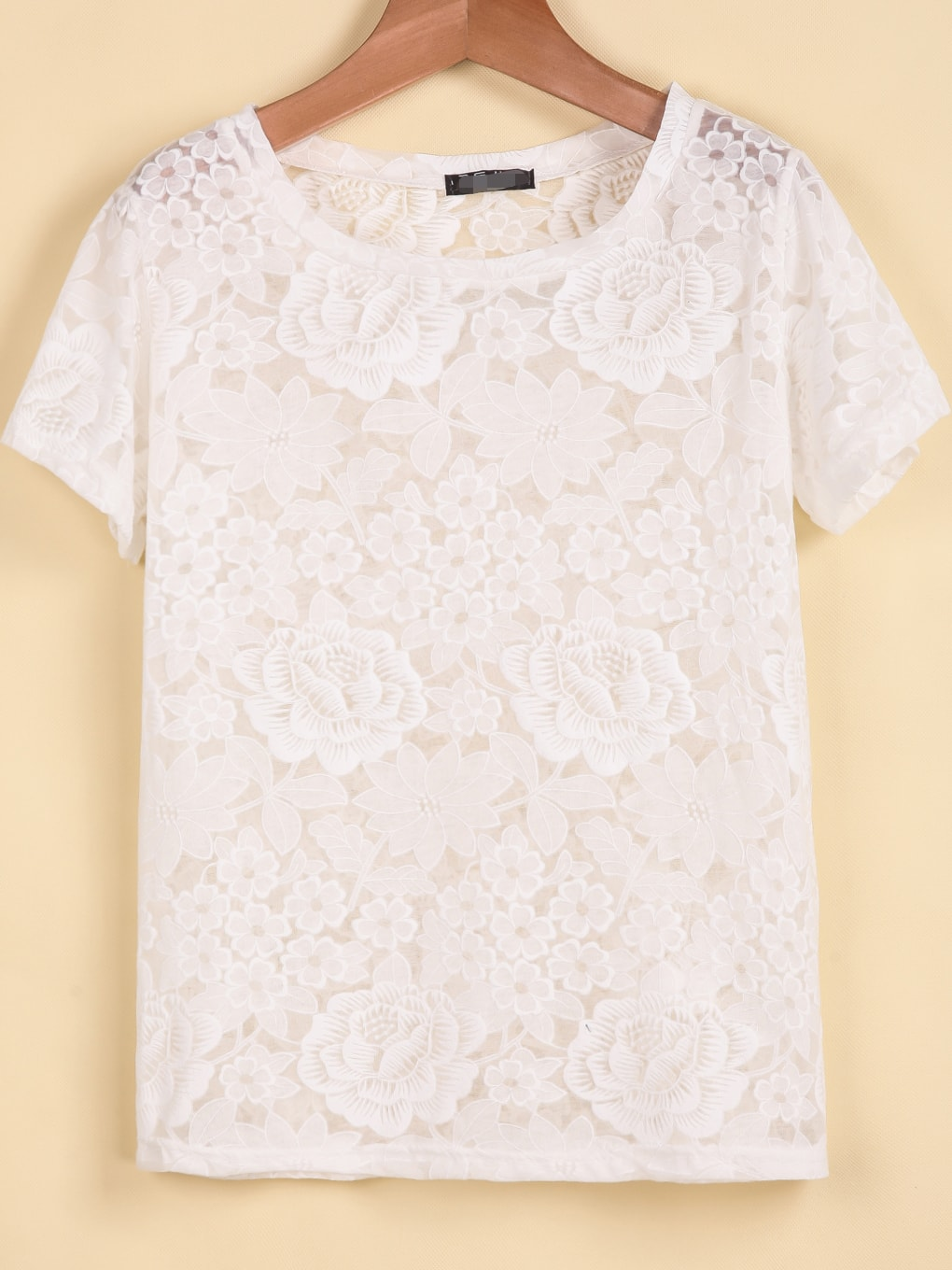 Crocheting T Shirts : White Short Sleeve Floral Crochet Lace T-Shirt -SheIn(Sheinside)