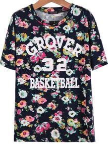 Navy Short Sleeve Floral GROVER Print T-Shirt