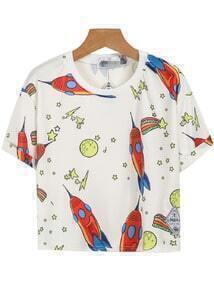 Camiseta estrella bolsillo-blanco