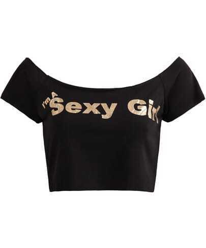Black Sexy Girl Print Bandage Crop T-Shirt