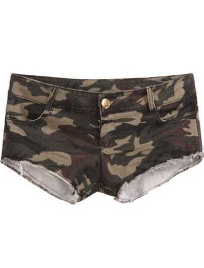 Army Green Camouflage Fringe Denim Shorts