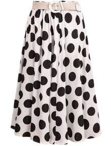 White Polka Dot Long Skirt