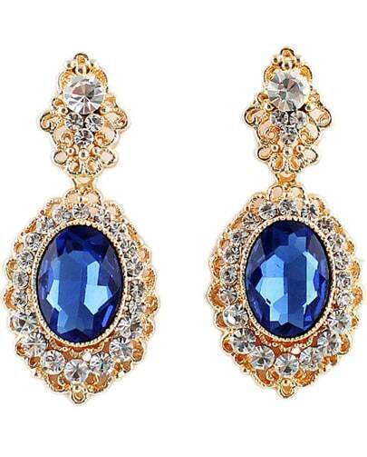 Blue Gemstone Gold Diamond Earrings