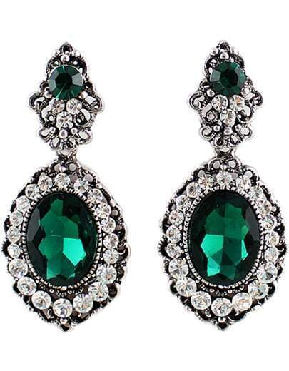 Green Gemstone Gold Diamond Earrings