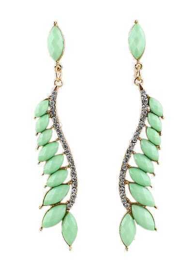 Green Gemstone Gold Diamond Leaves Earrings