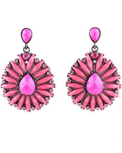 Red Gemstone Silver Fashion Earrings