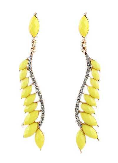 Yellow Gemstone Gold Diamond Leaves Earrings