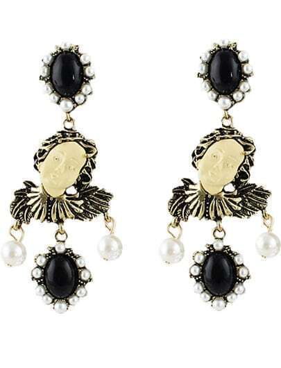 Black Gemstone Retro Gold Beauty Earrings