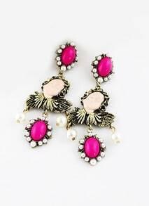 Red Gemstone Retro Gold Beauty Earrings