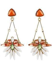 Red White Gemstone Gold Flower Earrings
