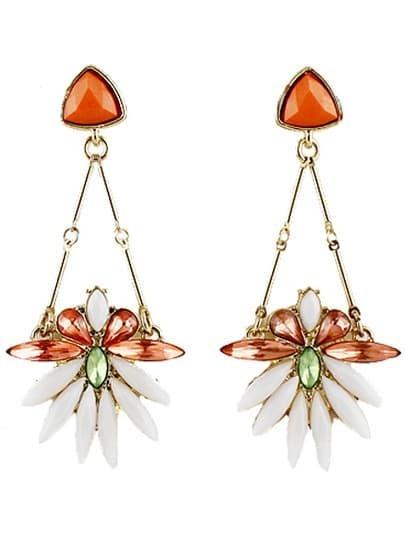 Red White Gemstone Gold Flower Earrings