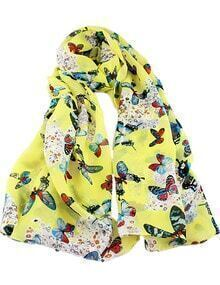 Yellow Butterfly Print Scarves