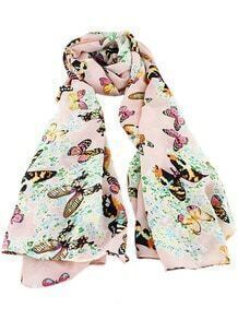 Pink Butterfly Print Scarves