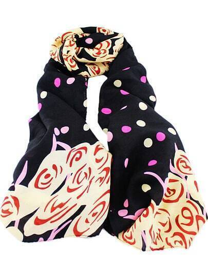 Black Polka Dot Floral Scarves