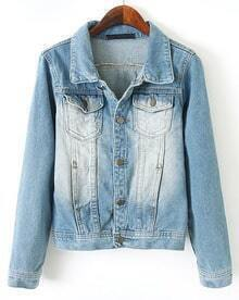 Blue Lapel Long Sleeve Bleached Pockets Jacket
