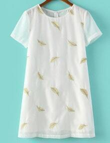White Short Sleeve Leaves Embroidered Dress