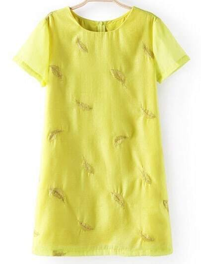 Yellow Short Sleeve Leaves Embroidered Dress
