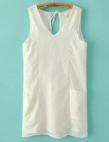 White V Neck Sleeveless Pockets Dress