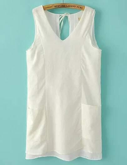 White V Neck Sleeveless Pockets Dress