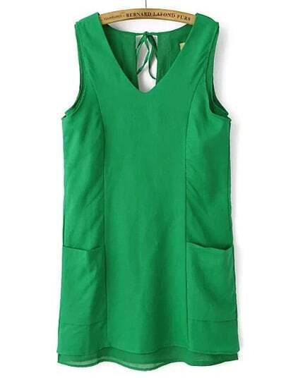 Green V Neck Sleeveless Pockets Dress