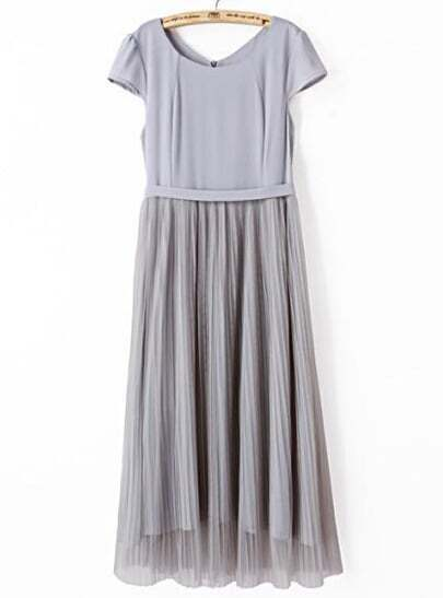 Grey Short Sleeve Belt Pleated Gauze Dress
