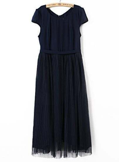 Navy Short Sleeve Belt Pleated Gauze Dress