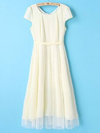 Light Yellow Short Sleeve Belt Pleated Gauze Dress