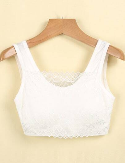 White Sleeveless Lace Crop Vest