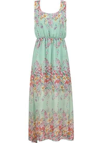 7ec22fcafe SheIn Sale: Green Fling Sleeveless Floral Chiffon Maxi Dress - Shesdeal.com