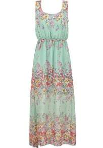Green Fling Sleeveless Floral Chiffon Maxi Dress