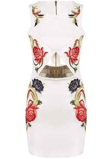 White Sleeveless Hollow Embroidered Bodycon Dress