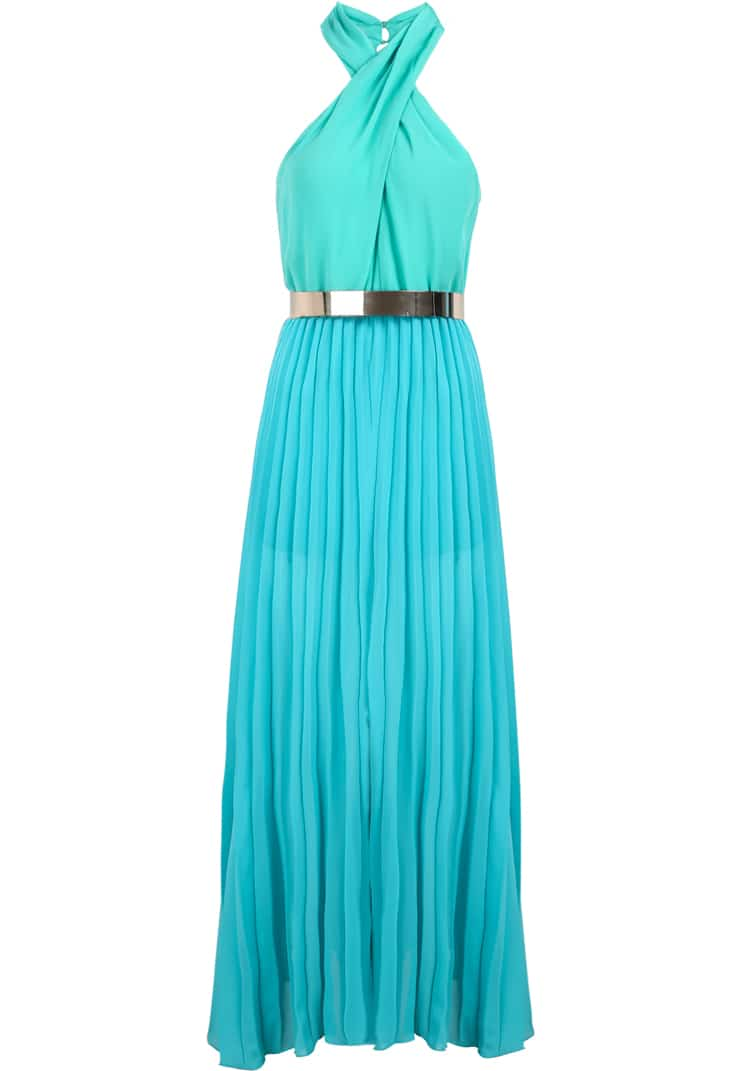 Turquoise Porm Infinity Halter Sleeveless Modest Pleated Chiffon ...