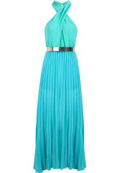 Turquoise Porm Infinity Halter Sleeveless Modest Pleated Chiffon Dress